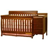 Athena Kimberly Convertible Crib and Changer Combo with Toddler Rail in Espresso