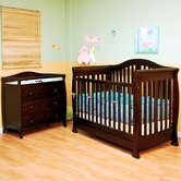 Athena Spring Convertible Crib with Toddler Rail and Grace Changing Table in Espresso