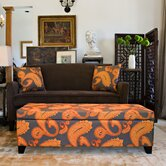 Kent Storage Bench Ottoman in Desert Sunset Brown Paisley