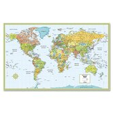 Hammond Deluxe Laminated Political World Map, Dry Erase, 50 x 38