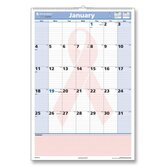 "Wall Calendar, Monthly, Cancer Awareness, Jan-Jan, 15-1/2""x22-3/4"", 2013"