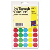 See-Through Removable Color Dots, 1015/Pack