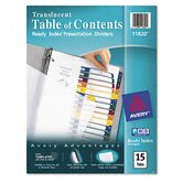 Ready Index Table/Contents Dividers, 15-Tab, Letter, Assorted, 15 per Set