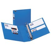 3-Ring EZD Binder W/Label Holder, 3&quot;Cap, 8-1/2&quot;x11&quot;, Blue