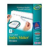 Prepunched Index Maker Dividers w/ Tabs, Laser, Punched, 8-Tabs, 50/BX, White