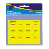 "Label Pad, Price Label, 3""x4"", 480 per Pack, Yellow"