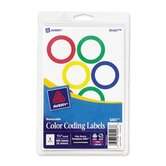 "Color Coding Labels, 1-1/4"" Dia., 400 Labels per Pack, Assorted"