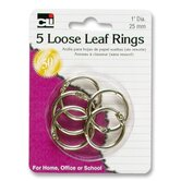 "Looseleaf Ring, 1"" Diameter, 5 per Pack, Silver"