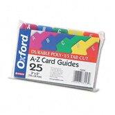 Oxford Card Guides, Alpha, 1/5 Tab, Polypropylene, 3 X 5, Set of 25