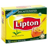 Lipton Tea Bags, Decaffeinated, 72 Bags/Box