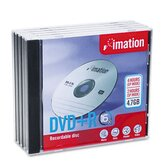 DVD+R Discs with Jewel Cases, 5/Pack