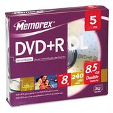 Dual - Layer DVD + R Discs, 5/Pack