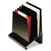 Slanted Vertical Organizer, Six Sections, Steel, 11w x 7-1/4d x 11 1/2h, Black