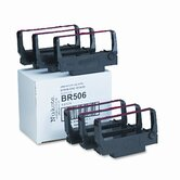 BM506/BR506 Cash Register/OS Ribbon, Nylon, Black/Red, Six per Box