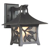 Mandalay Hanging Outdoor Wall Lantern with Leaf Detail in Antique Bronze