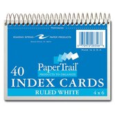 "Wirebound Index Cards,6""x4-1/2"",40 SH,Ruled,Perforated,White"