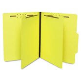 Economy Classification Folders, Letter, Six-Section, Canary, 25/Box