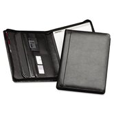 Leather Zipper Close Padfolio with Pad, Document File and Organizer Slots, Black