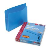 3 1/2&quot; Expansion Drop Front File Pockets, Straight Tab, Poly, Letter, Blue, 4/Bx