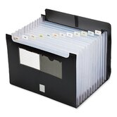 Expanding File With Flap, 13 Pocket, Letter, 13&quot;x1-1/8&quot;x9-1/2&quot;, Black