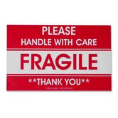 Shipping Label, Fragile/Handle W Care, 500 per Roll, Red