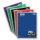 Wirebound 1-Subject Notebook, Wide Rule, 70 Sheets/Pad