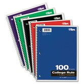 Wirebound 1-Subject Notebook, College Rule, 100 Sheets/Pad