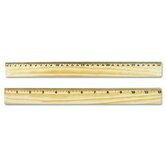 Flat Wood Ruler W/Double Metal Edge
