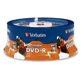 DVD-R, 4.7GB, 16X, Inkjet/Hub Printable, Spindle, 25 per Pack, White