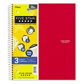 Five Star Wirebound Notebook, College Rule, 3 Subject 150 Sheets