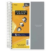 Notebook, Wirebound, 5-Subject, 180 Sheets, 9-1/2&quot;x6&quot;, Assorted