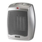 Ceramic 1500W Heater with Adjustable Thermostat, 7w x 6d x 9-1/5h, Gray