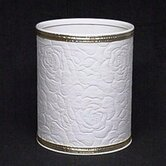 Traditional Times Quilted Rose Pattern Round Vinyl Wastebasket