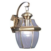 Monterey  Outdoor Wall Lantern in Antique Brass and Beveled Glass