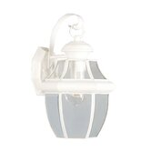 Monterey  Outdoor Wall Lantern in White and Beveled Glass