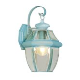 Monterey  Outdoor Wall Lantern in Verdigris and Beveled Glass