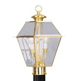 Westover Outdoor Post Lantern in Polished Brass