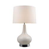 Continuum One Light Table Lamp with 3 Way Switch in White and Chrome