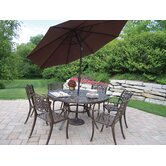 Mississippi 7 Piece Dining Set with Umbrella