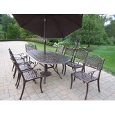 Mississippi 11 Piece Dining Set with Umbrella