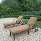 Belmont 3 Piece Chaise Lounge Seating Group with Sunbrella Cushions