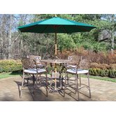 Elite 7 Piece Bar Height Set with Cushions and Umbrella