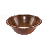 Round Self Rimming Hammered Copper Bathroom Sink in Oil Rubbed Bronze