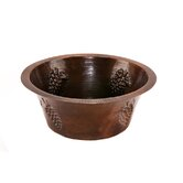 "16"" Round Copper Bar Sink with Grapes in Oil Rubbed Bronze"