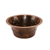 "16"" Round Copper Bar Sink with Fleur De Lis in Oil Rubbed Bronze"