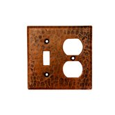 Copper Combination Switchplate, 2 Hole Outlet and Single Toggle Switch in Oil Rubbed Bronze