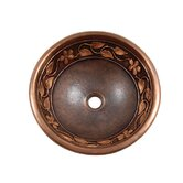 Flower and Vine Design Topmount Round Copper Vessel Sink