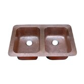 Hammered Double Bowl Undermount or Topmount Copper Kitchen Sink