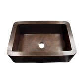 Hammered Single Bowl Rectangular Copper Farmhouse Sink