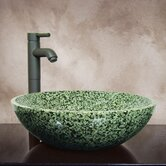 "Devon 6"" x 16"" Hand Carved Round Vessel Sink in Green"